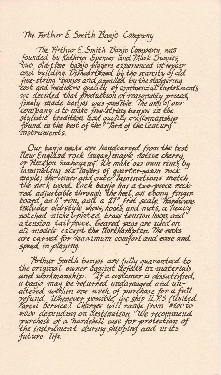 AE Smith Banjo Catalog 1 Panel 2